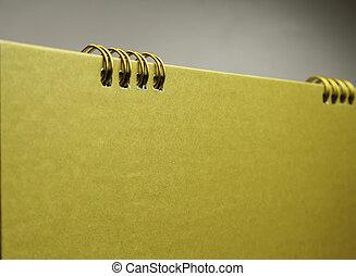 kalender, blank, kopi, guld, arealet