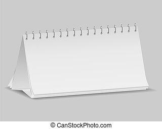 kalender, blank, skrivebord