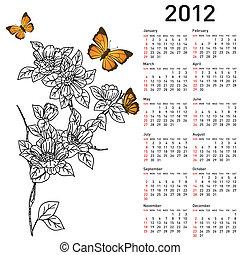 kalender, blomningen, 2012