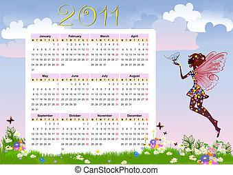 kalender, blomst, fairy