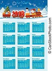kalender, claus, 2018, kerstman