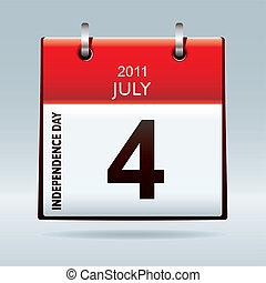 kalender, dag, onafhankelijkheid, pictogram