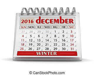 kalender, -, december, 2016
