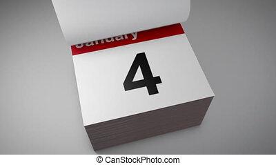 kalender, door, het wegknippen, jaar