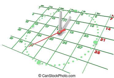 kalender, en, clock., groene, edition.