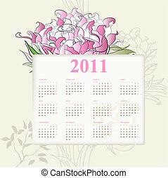 kalender, für, 2011, mit, blumen