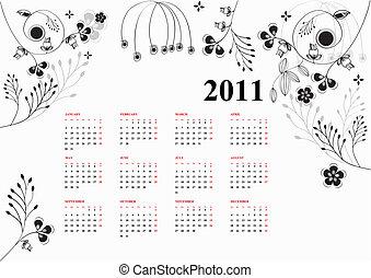kalender, für, 2011, mit, stilisiert, blumen