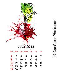 kalender, für, 2012, mit, gemuese