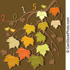 kalender, für, 2015, jahr, mit, blumen