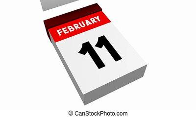 kalender, -, februar, 3d