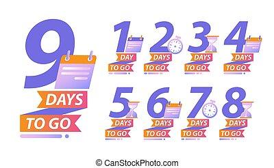 kalender, gå, dagar, nedräkning, begrepp, eller