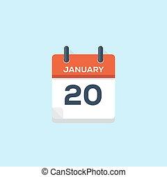 kalender, januari, vector, illustratie, 20.