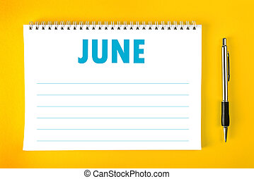 kalender, juni, pagina, leeg