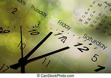 kalender, klocka vett