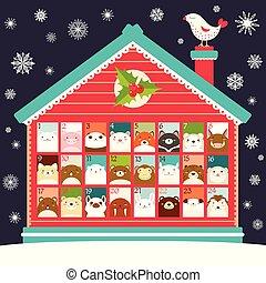 kalender, komme, jul
