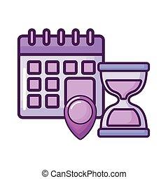 kalender, lokaliseringen, fastgøre, timeglas