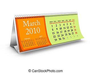kalender, märz, 2010, schreibtisch