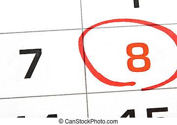 kalender, med, a, datera, circled, in, markör