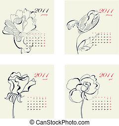 kalender, mit, blumen, für, 2011