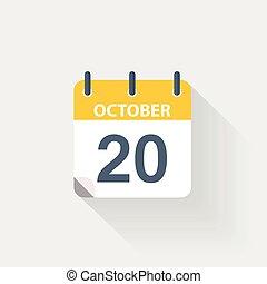 kalender, oktober, 20, pictogram
