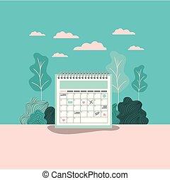 kalender, påminnelse, landskap, skog