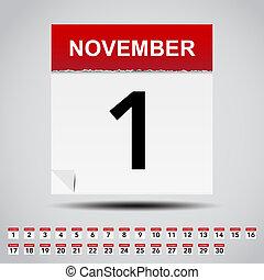 kalender, papper, vit, note.