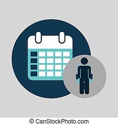 kalender, planerande, silhuett, affär,  man
