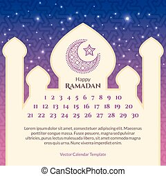 kalender, ramadan, schablone