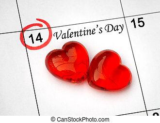 kalender, sida, med, den, röd, hjärtan, på, februari 14, av,...