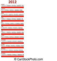 kalender, speciell, röd, 2012