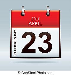 kalender, st, georges, dag, pictogram