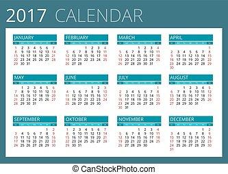 kalender, sunday., vektor, 2017., startar, enkel, vecka, design.