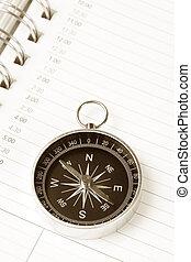kalender, tagesordnung, und, kompaß
