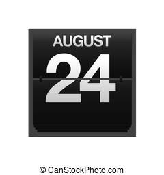 kalender, toonbank, augustus, 24.