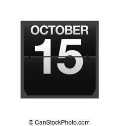 kalender, toonbank, oktober, 15.