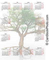 kalender, træ, det