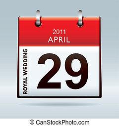 kalender, trouwfeest, koninklijk, pictogram