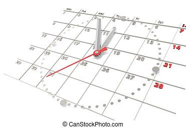 kalender, und, clock., stahl, ausgabe