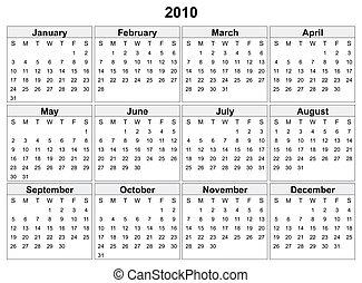 kalender, van, 2010, year.