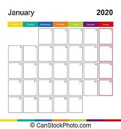 kalender, vecka, januari, 2020, monday., färgrik, vägg, startar
