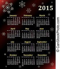 kalender, vector, 2015, illustratie
