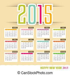 kalender, vector, illustratie, 2015.