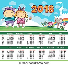 kalender, vector, year., 2018