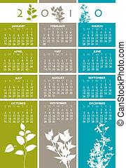 kalender, vektor, 2010