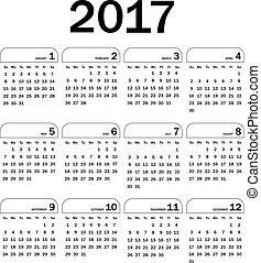 kalender, vektor, 2017