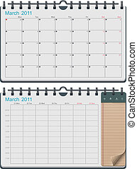 kalender, vektor, mall
