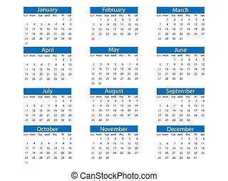 kalender, vektor, sunday., vecka, design., 2021, illustration, lägenhet, startar