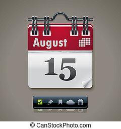 kalender, vektor, xxl, ikone
