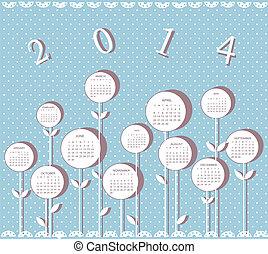 kalender, voor, 2014, jaar, met, bloemen
