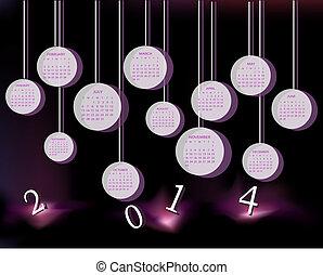 kalender, voor, 2014, jaar, met, cirkels